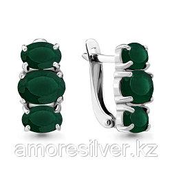 Серебряные серьги с агатом зеленым    Aquamarine 4429509