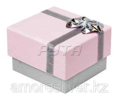 38030рз/с Футляр картонный  с бантиком из фольги, розовый-серебристый перламутр, гарнитур 4 прорези  ФУТЛЯРЫ 38030рз/с  38030рз/с