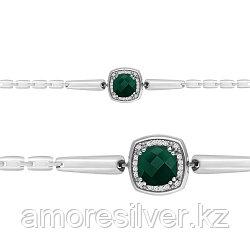 Браслет из серебра с агатом зеленым   AQUAMARINE 7443609А размеры - 16 17 18