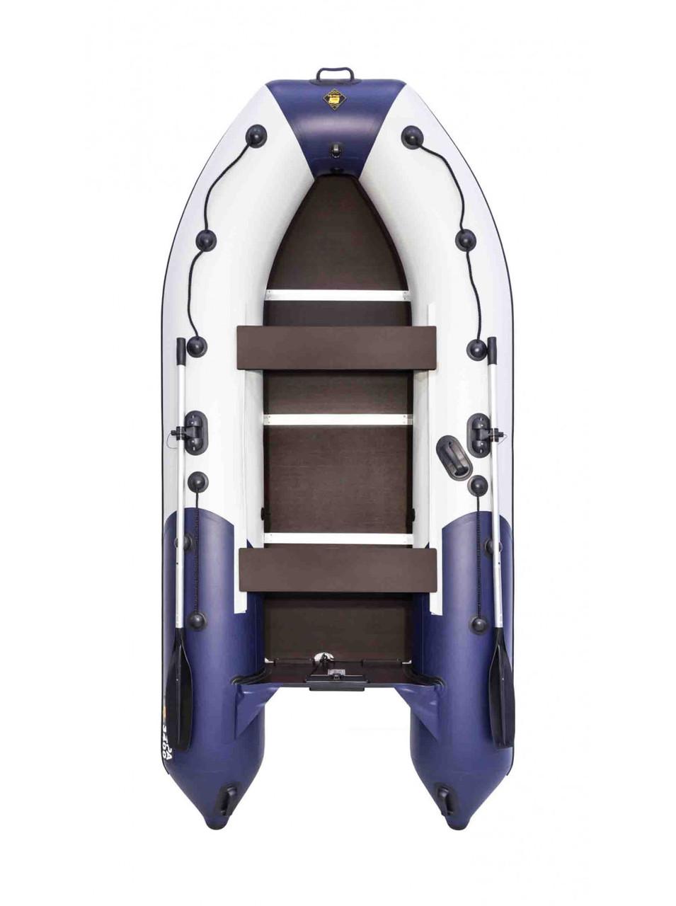 Лодка Ривьера Компакт 3400 СК комби светло-серый/синий