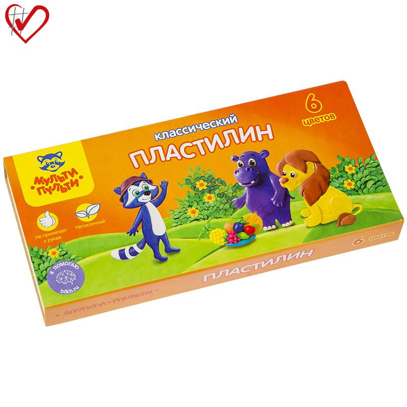 "Пластилин Мульти-Пульти ""Приключения Енота"", 06 цветов, 120г, со стеком, картон"
