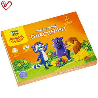"Пластилин Мульти-Пульти ""Приключения Енота"", 08 цветов, 160г, со стеком, картон"