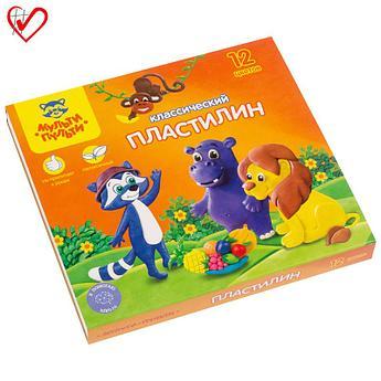 "Пластилин Мульти-Пульти ""Приключения Енота"", 12 цветов, 240г, со стеком, картон"