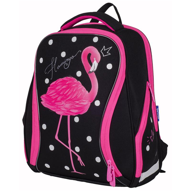 """Ранец Berlingo Nova """"Pink flamingo"""" 37*28*18 см, 2 отделения, 2 кармана, анатомическая спинка"""