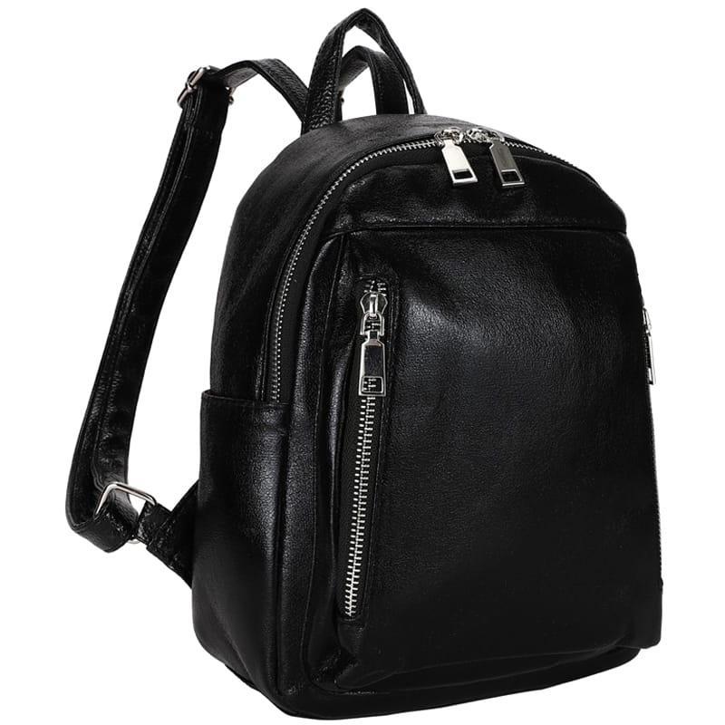 Рюкзак Ors Oro, 28*22*12см, 1 отделение, 5 карманов, экокожа, черный металлик