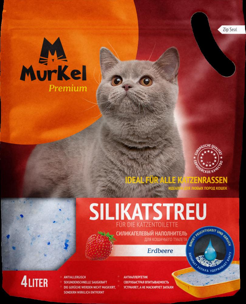 Впитывающий наполнитель Murkel для туалета кошек (Клубника) - 4 л