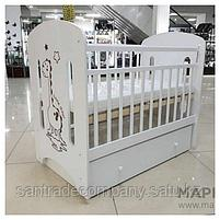Детская кроватка DINO маятник +ящик(цвет белый,слоновая кость), фото 2