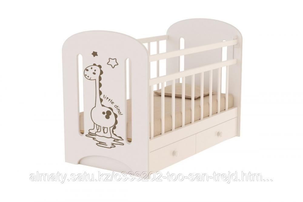 Детская кроватка DINO маятник +ящик(цвет белый,слоновая кость)