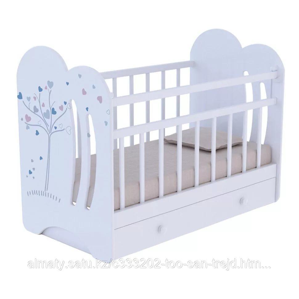 Детская кроватка Wind tree маятник +ящик(цвет бежевый,белый)