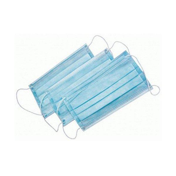 Маска  косметическая 3-х слойная голубая на резинках, 50 шт