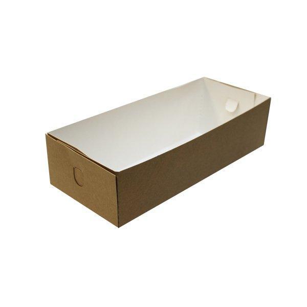 Коробка д/пирожн., д/хол., квадратн., 120х270х60мм, бурый, картон дно низкое, 200 шт