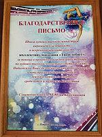 Благодарственное письмо ШХГ Юлии Колесниковой г.Петропавловск