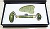 Набор HANAI из нефрита. Роллер-массажер + скребок для массажа Гуаша.