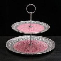 Блюдо 2-х ярусное 'Морион', d21/27 см, цвет чёрно-розовый с серебром