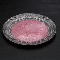 Тарелка 'Морион', d21 см, цвет чёрно-розовый с серебром