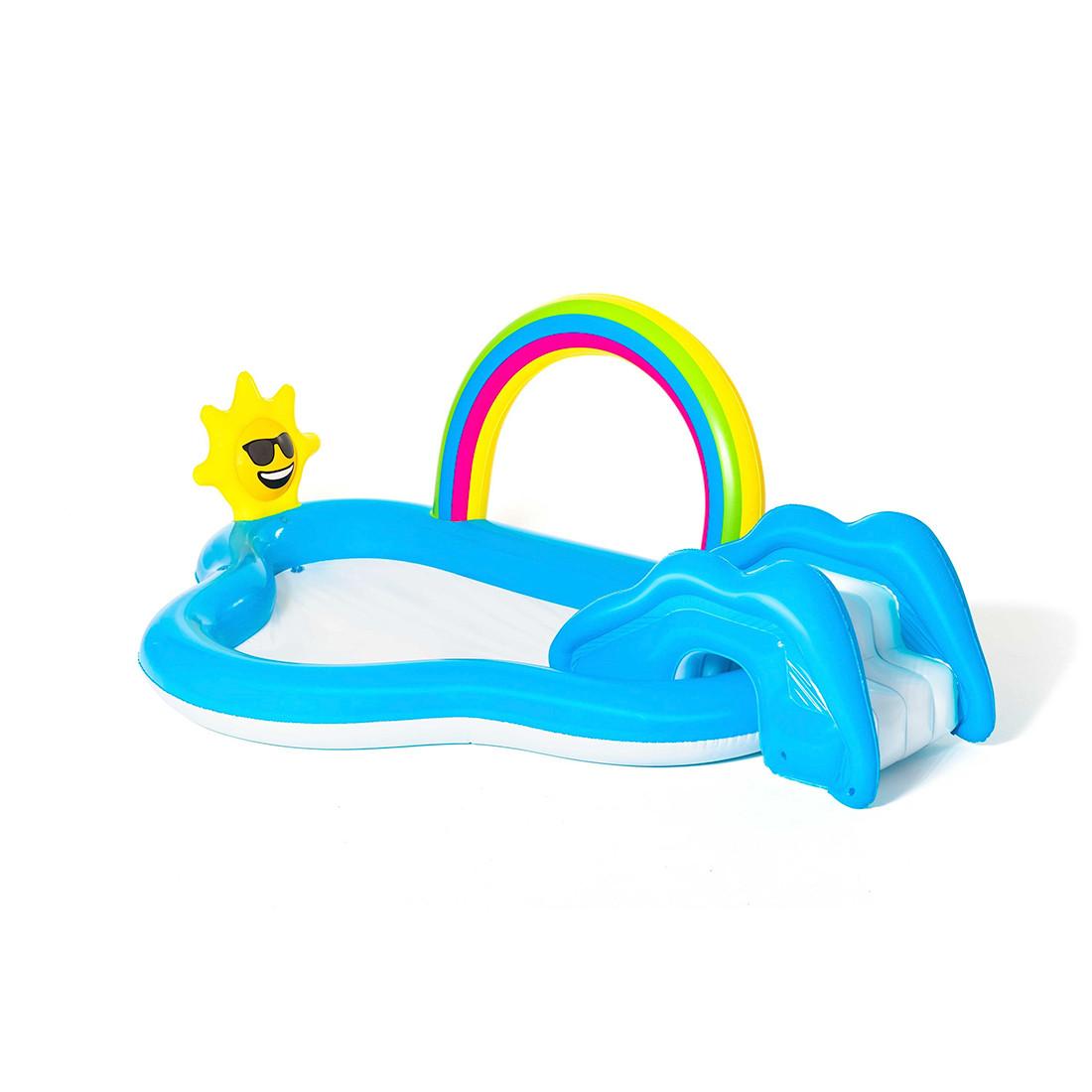 Детский надувной игровой бассейн BESTWAY Rainbow n' Shine 53092  (257x145x91см)