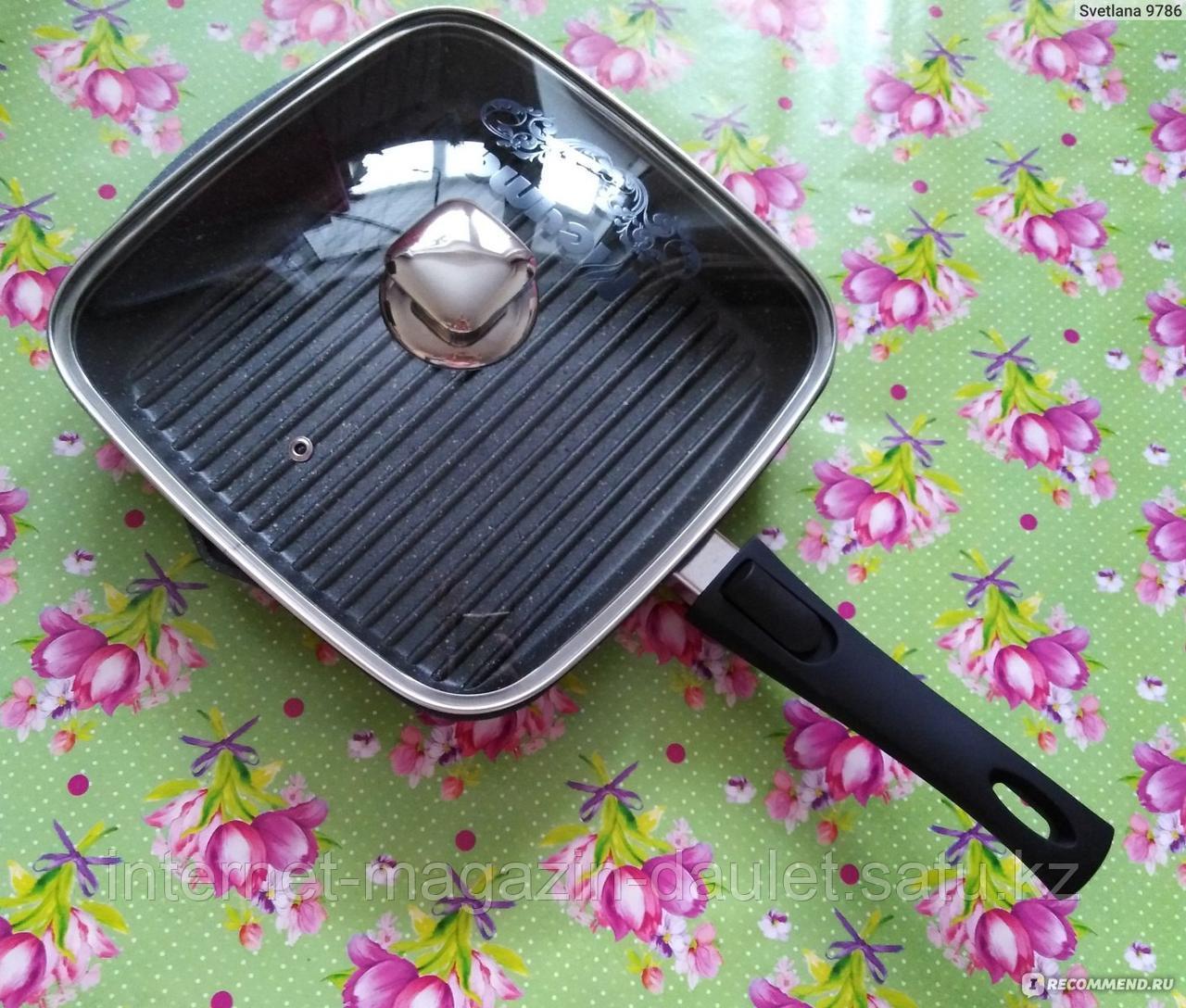 Сковорода-гриль квадр. 26*26 Гранит со съёмной ручкой и стеклянной крышкой