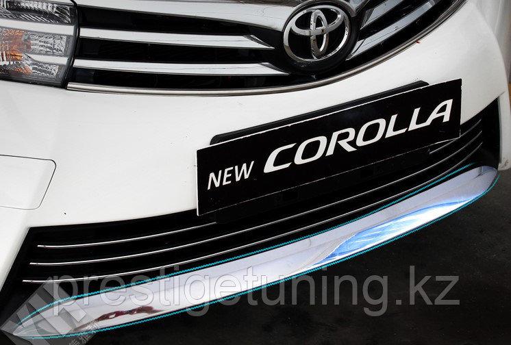 Хром накладка на передний бампер Corolla 2013-15