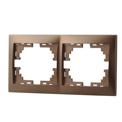 Рамка 2-ая гор. светло-коричневый и жемчужно-белый металлик Deriy 702-3100-147