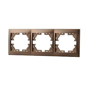 Рамка 3-ая горизонтальная со вст. светло-коричневый перламутр Мира 701-3100-148