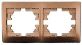 Рамка 2-ая горизонтальная б/вст. металл золото Мира 701-1300-147