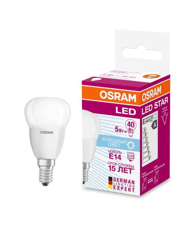 Лампа светодиодная VALUECLP40 5W/840 220-240V FR E14 10*1 OSRAM /4052899973350/