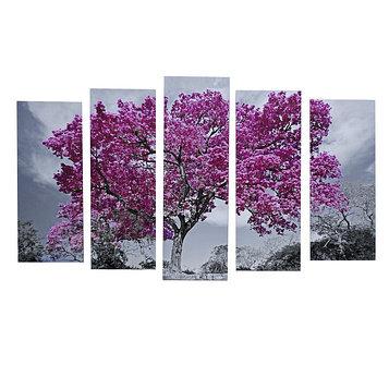 """Картина модульная на подрамнике """"Дерево в цвету"""" 125х80 см (2-25х63, 2-25х70, 1-25х80)"""