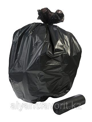 Пакет для мусора черный на 60 литров 30.6(14.5+14.5)*79*15 мкр.РК, фото 2