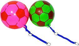 2019-61 Мяч футбольный гелевый резинкой разные расцветки 19*19см