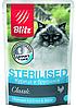 Влажный корм для стерилизованных кошек Blitz Sterilised курица с брусникой