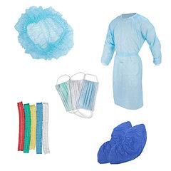 Маски, перчатки, бахилы, шапочки, халаты, нарукавники, фартуки (СИЗ)