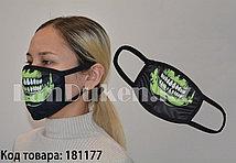 Многоразовая маска с защитой от холода и пыли Зеленая челюсть скелета
