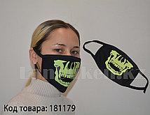 Многоразовая маска с защитой от холода и пыли фосфорная Открытая челюсть скелета