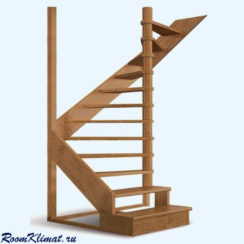 Деревянная межэтажная лестница ЛЕС 01 левозаходная (поворот 180 градусов)