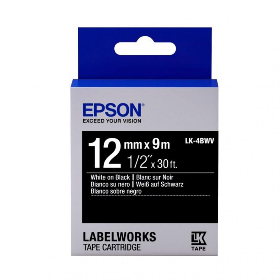 Лента Epson C53S654009 LK4BWV Vivid White/Black 12/9