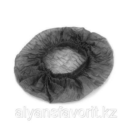Шапочка черная из нетканного материала 100 шт.уп., фото 2