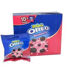 Печенье Oreo Mini Strawberry 20,4гр Мини Орео Клубничный крем (10шт-упак)