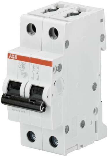 2CDS252001R0164 Автоматический выключатель ABB, S202 2P 16А (С) 6 kA