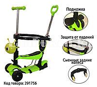 """Самокат каталка """"Гусеница 5 в 1"""" с сидением, подножкой, сменными колесами и родительской ручкой зеленый"""