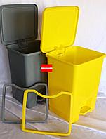 Контейнеры урны 30л с педальным механизмом для сбора медицинских отходов Желтый/Серый