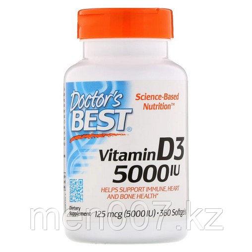БАД Витамин D3, 5000 IU (360 капсул) Doctors best