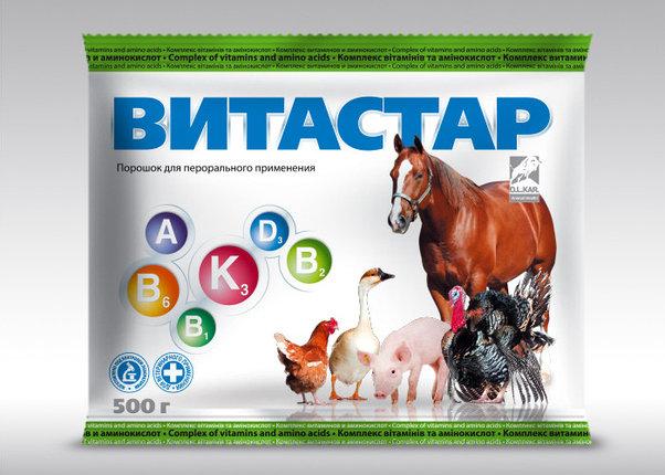 Витастар 500 гр порошок витаминно-аминокслотный комплекс для всех с/х животных и птицы, фото 2