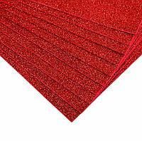 Глиттерный фоамиран Красный 2мм 40*60 см
