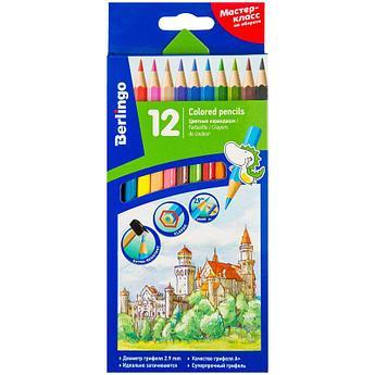 """Карандаши цветные Berlingo """"Замки"""", 12цв., заточен., картон, европодвес"""