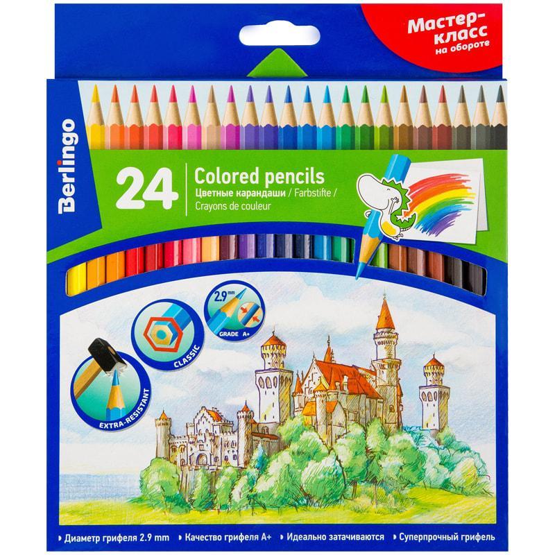 """Карандаши цветные Berlingo """"Замки"""", 24цв., заточен., картон, европодвес"""