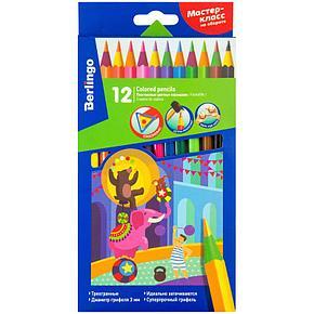 """Карандаши цветные пластиковые Berlingo """"Цирк"""", 12цв., заточен., картон, европодвес, фото 2"""