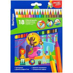 """Карандаши цветные пластиковые Berlingo """"Цирк"""", 18цв., заточен., картон, европодвес, фото 2"""