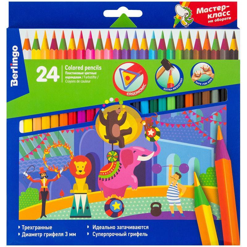 """Карандаши цветные пластиковые Berlingo """"Цирк"""", 24цв., заточен., картон, европодвес"""