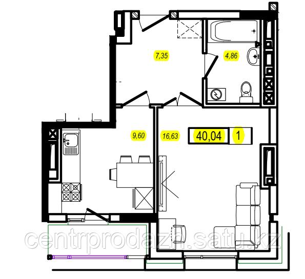 1 комнатная квартира в ЖК Athletic 40.04 м²