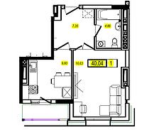 1 комнатная квартира в ЖК Athletic 40.04 м², фото 1